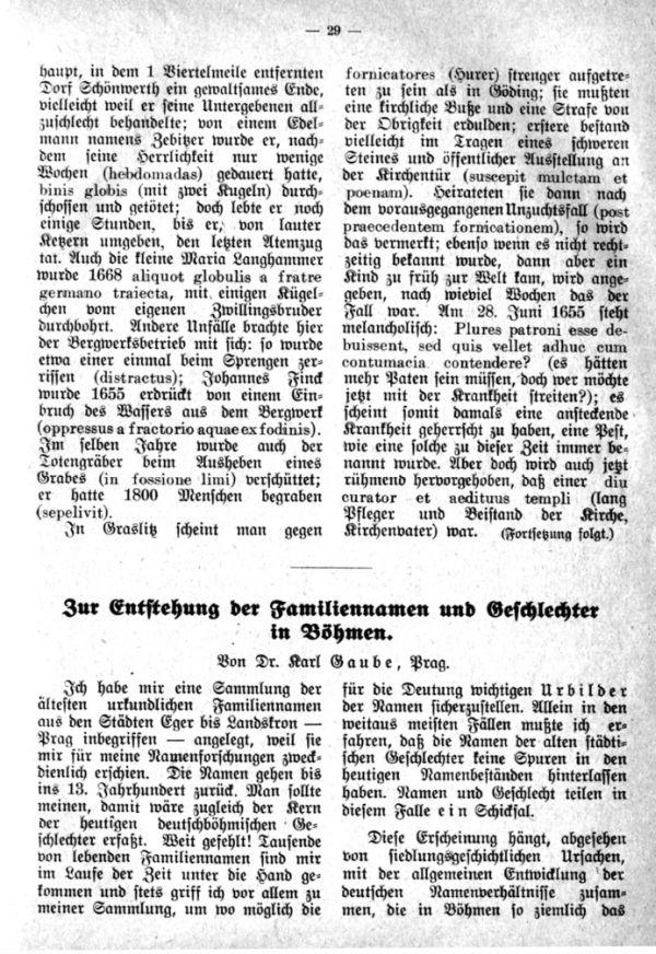 Entstehung der Familiennamen und Geschlechter in Böhmen - 1