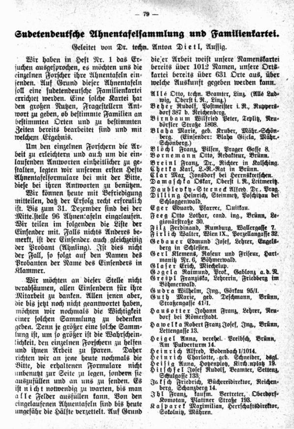 Sudetendeutsche Ahnentafelsammlung und Familienkartei - 1