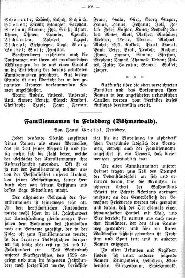 Familiennamen in Friedberg (Böhmerwald) - 1