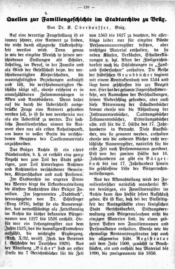 Quellen zur Familiengeschichte im Stadtarchiv zu Brüx