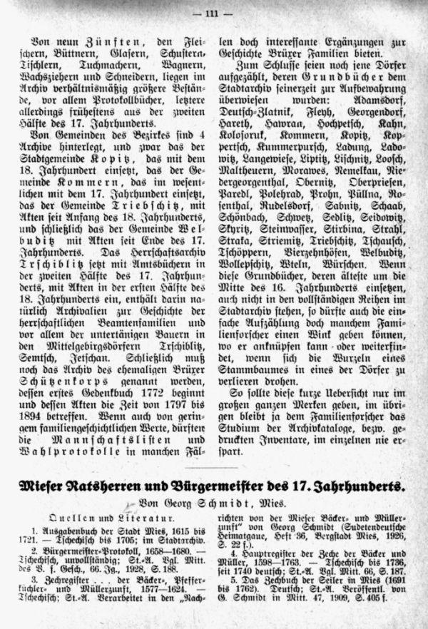 Mieser Ratsherren und Bürgermeister des 17. Jahrhunderts - 1