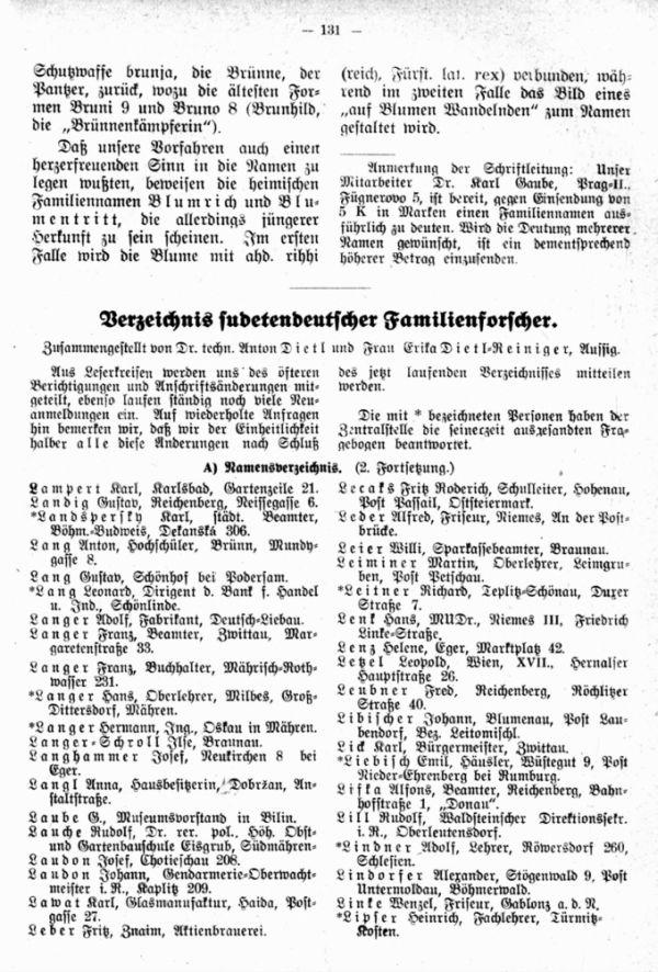 Verzeichnis sudetendeutscher Familienforscher - 1