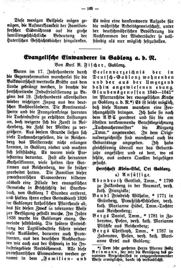 Evangelische Einwanderer in Gablonz a.d.N. - 1