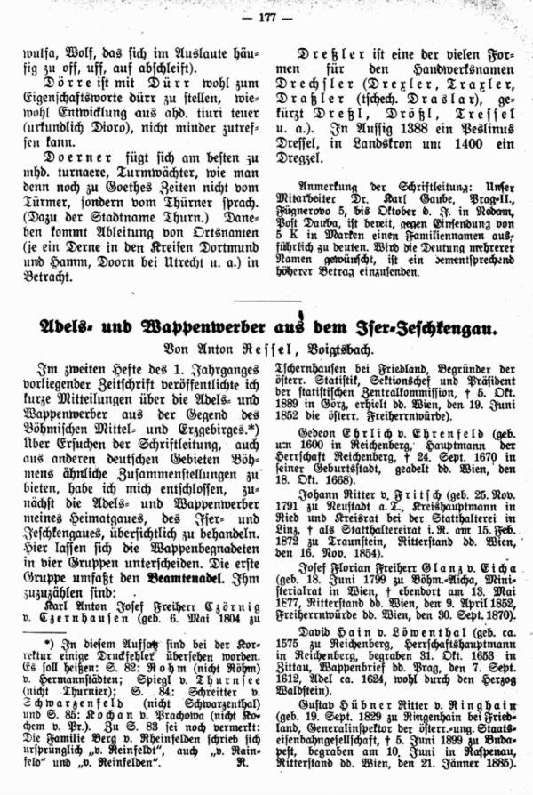 Adels- und Wappenwerber aus dem Iser-Jeschkengau - 1