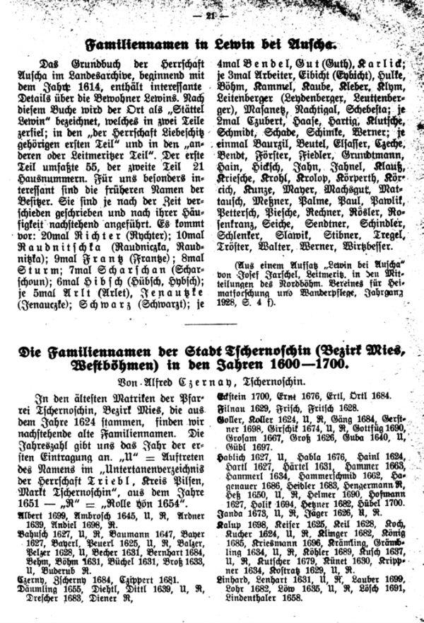 Die Familiennamen in Lewin bei Auscha - Die Familiennamen der Stadt Tschernoschin (Bezirk Mies, Westböhmen) in den Jahren 1600-1700