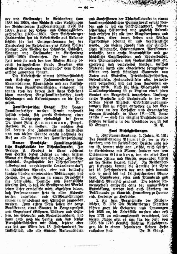 Familienforscher Prags - Roman Prochazka, Familiengeschichtliche Enzyklopädie der Tschechoslowakei