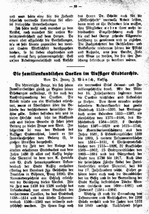 Die familienkundl. Quellen im Aussiger Stadtarchiv - 1
