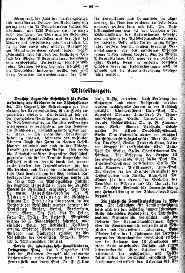 Mitteilungen. Verein für sudetendeutsche Familienkunde, Ortsgruppe Prag,  - Die tschechische Familienforschung in Böhmen