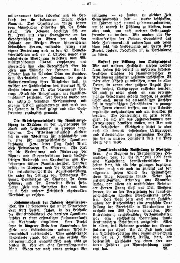 Die Arbeitsgemeinschaft für Familienforschung in Troppau - Zusammenkunft der Iglauer Familienforscher - Familienkundliche Ausstellung in Morchenstern