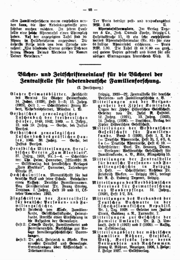 Bücher- und Zeitschrifteneinlauf für die Bücherei der Zentralstelle für sudetendeutsche Familienforschung - 1