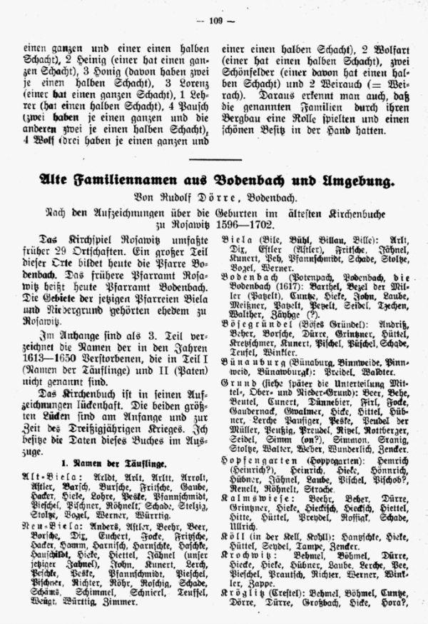 Alte Familiennamen aus Bodenbach und Umgebung - 1