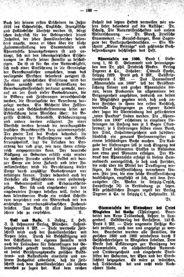 Ahnentafeln um 1800 - Stammtafeln der Einwohner des Ortes Wiegleben bei Gotha - Die Familie Klein und ihre Bedeutung für die wirtschaftliche Entwicklung Nordmährens