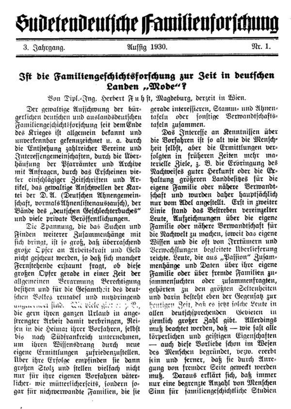 Ist die Familiengeschichtsforschung zur Zeit in deutschen Landen 'Mode'? - 1