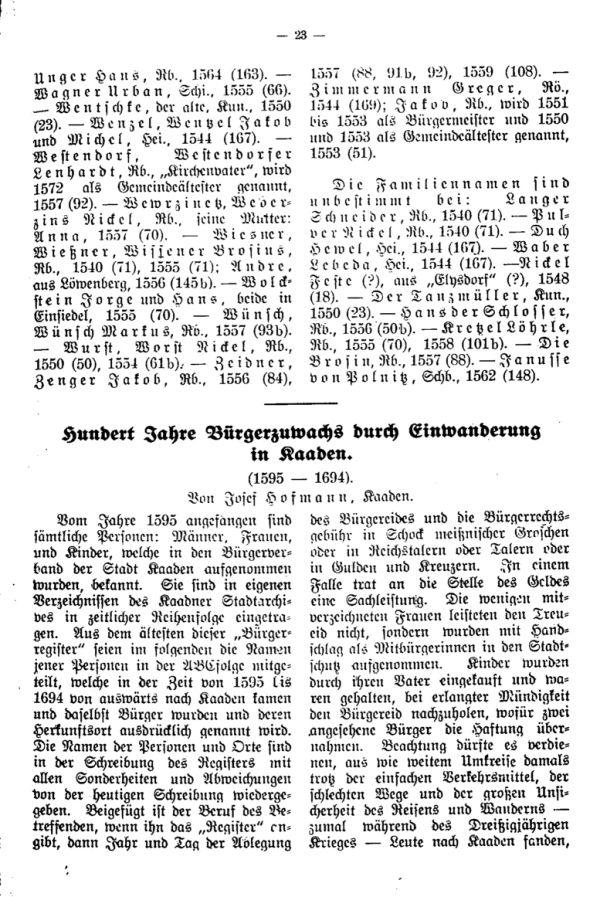 Hundert Jahre Bürgerzuwachs durch Einwanderung in Kaaden (1595-1694) - 1