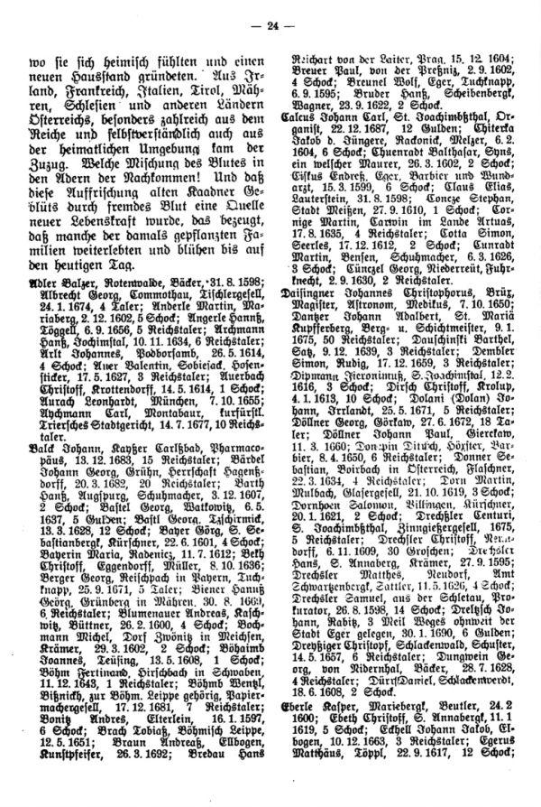 Hundert Jahre Bürgerzuwachs durch Einwanderung in Kaaden (1595-1694) - 2