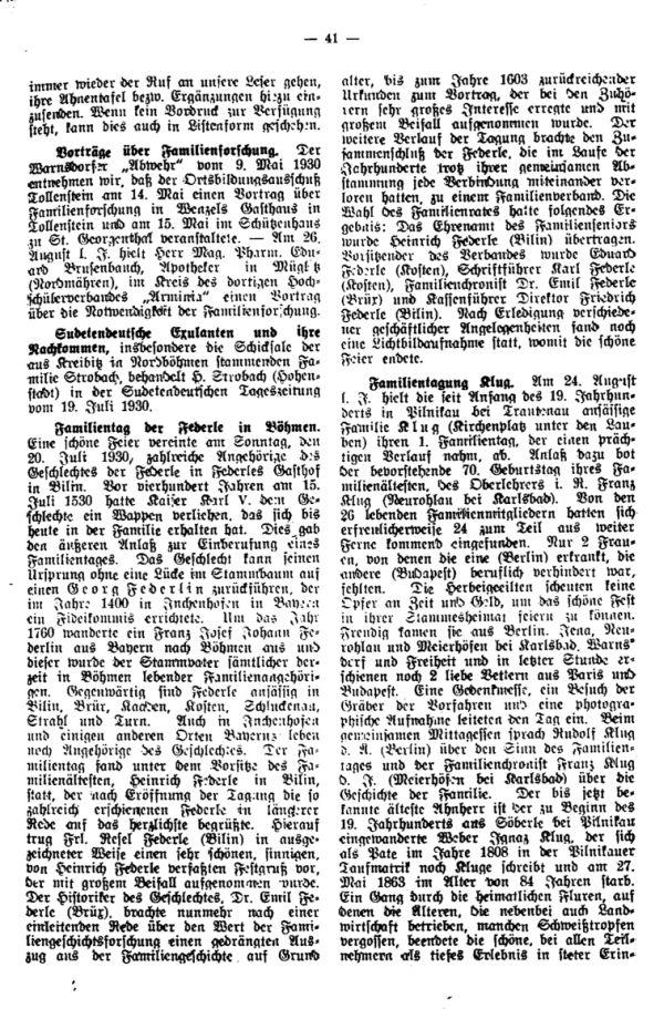 Sudetendeutsche Exulanten in ihre Nachkommen - Familientag der Federle in Böhmen