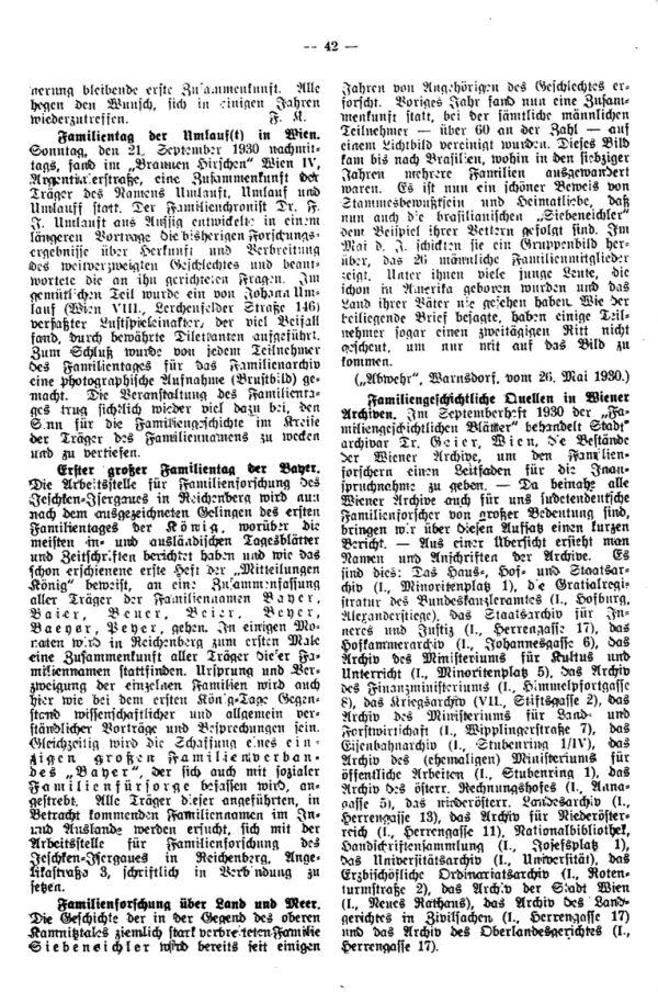 Familientag Klug.  Familientag der Umlauf(t) in Wien - Erster großer Familientag der 'Bayer' - Familiengeschichtliche Quellen in Wiener Archiven