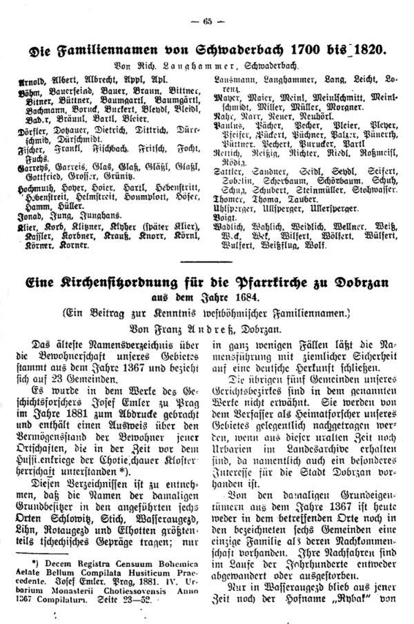 Die Familiennamen von Schwaderbach 1700-1820  - Eine Kirchensitzordnung für die Pfarrkirche zu Dobrzan aus dem Jahre 1684