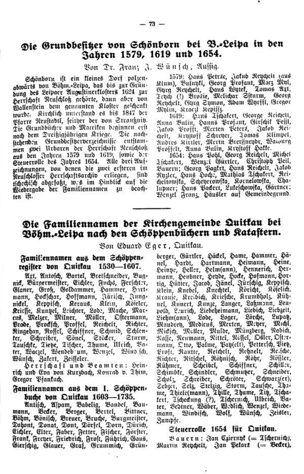 Die Grundbesitzer von Schönborn bei Böhm.-Leipa in den Jahren 1579, 1619 und 1654 - Die Familiennamen der Kirchengemeinde Quitkau bei Böhm.-Leipa nach den Schöppenbüchern und Katastern