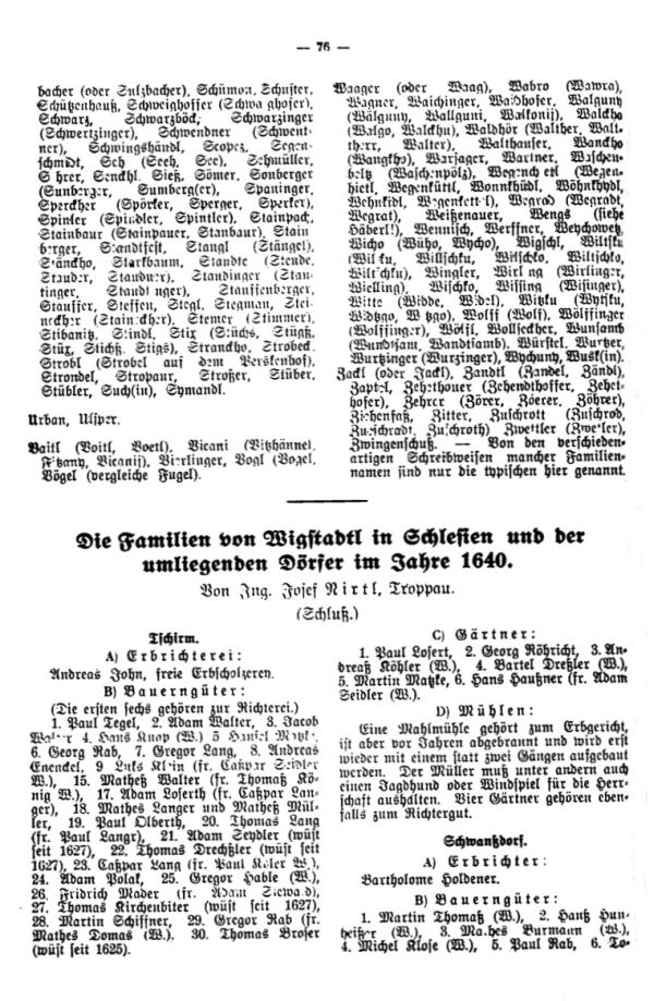 Die Familien von Wigstadtl in Schlesien und der umliegenden Dörfer im Jahre 1640 - 1