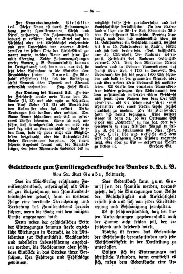 Zur Namensdeutungsecke - Die Deutung des Namens Eis - Geleitwort zum Familiengedenkbuche des Bundes d.D. in.B