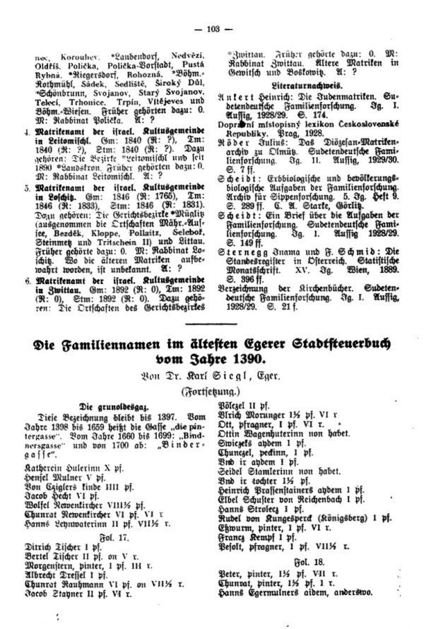 Die Familiennamen im ältesten Egerer Stadtsteuerbuch vom Jahre 1390 - 1