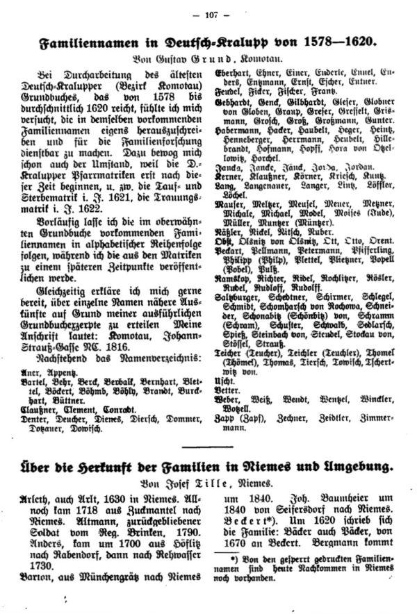 Familiennamen in Deutsch-Kralupp von 1578-1620 - Über die Herkunft der Familien in Niemes und Umgebung