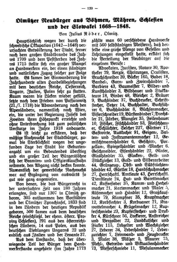 Olmützer Neubürger aus Böhmen, Mähren, Schlesien u. der Slowakei 1668-1848 - 1