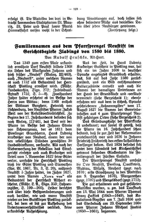 Familiennamen aus der Pfarrsprengel Neustift im Gerichtsbezirke Zlabings von 1580 bis 1880 - 1