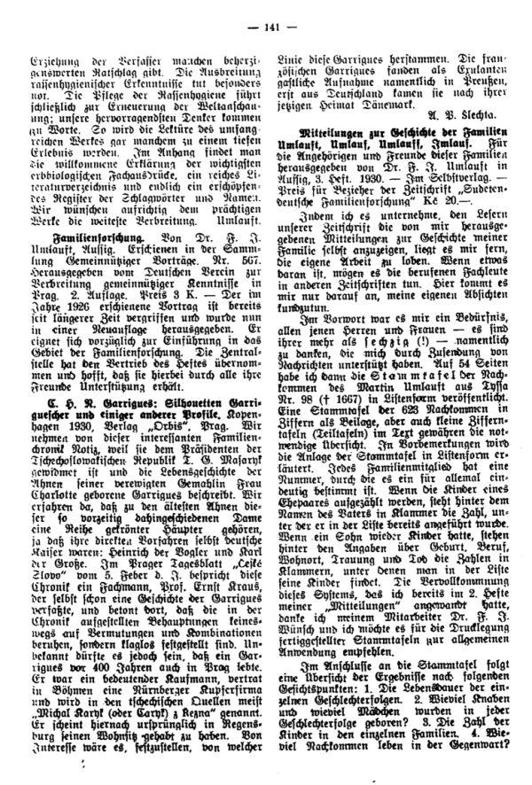 Mitteilungen zur Geschichte der Familien Umlauft, Umlauf, Umlauff, Imlauf -  E.H.N. Garrigues: Silhouetten Garriguescher und einiger anderer Profile