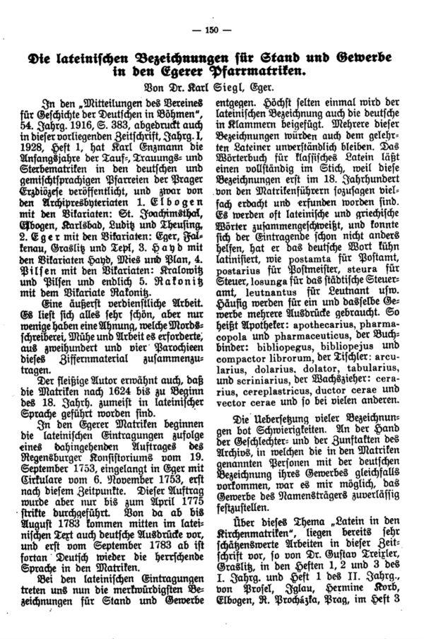 Die lateinischen Bezeichnungen für Stand und Gewerbe in den Egerer Pfarrmatriken - 1
