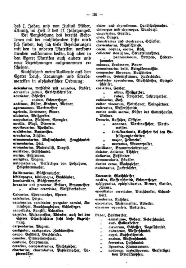 Die lateinischen Bezeichnungen für Stand und Gewerbe in den Egerer Pfarrmatriken - 2