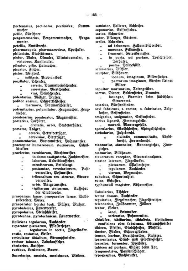 Die lateinischen Bezeichnungen für Stand und Gewerbe in den Egerer Pfarrmatriken - 4