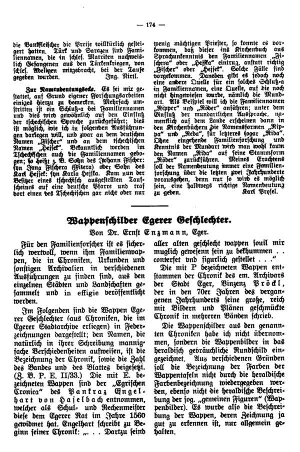 Wappenschilder Egerer Geschlechter - 1