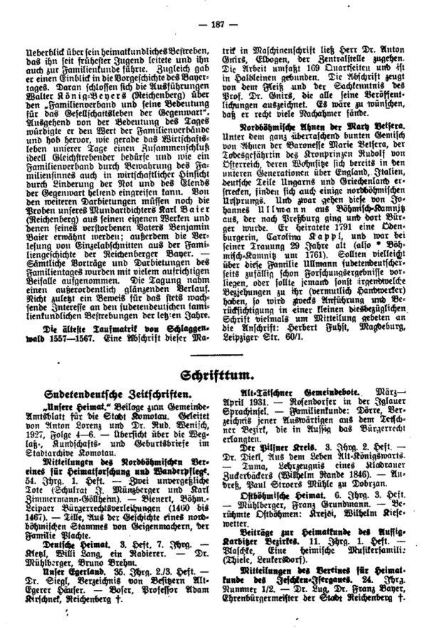 Die älteste Taufmatrik von Schlaggenwald - Nordböhmische Ahnen der Mary Betsera