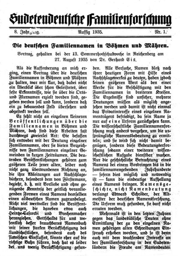 Die deutschen Familiennamen in Böhmen und Mähren - 1
