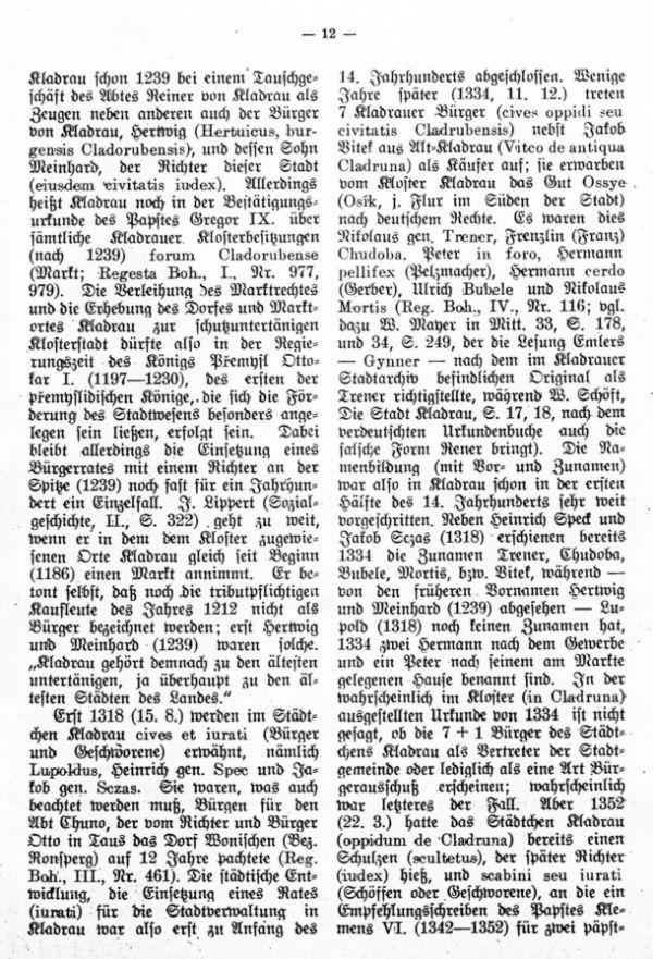 Die ältesten Bürger- und Rathherrennamen der Stadt Kladrau - 2