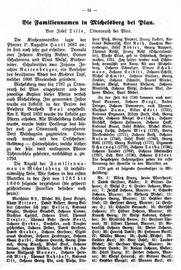 Die Familiennamen in Michelsberg bei Plan