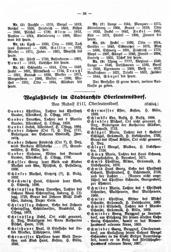 Weglaßbriefe im Stadtarchiv Oberleutensdorf (Schluß) - 1