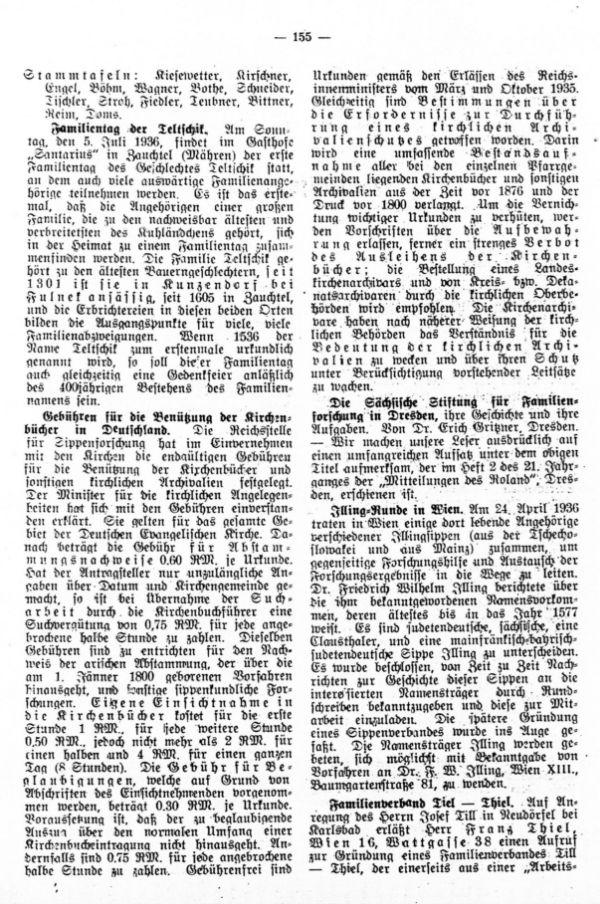 Das alter der Matriken, Von Karl Enzmann, Schönfeld. - Familientag der Teltschik - Illing-Runde in Wien - Familienverband Thiel-Tiel