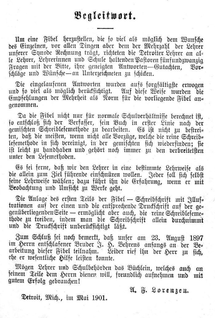 Deutsche Fibel -Begleitwort