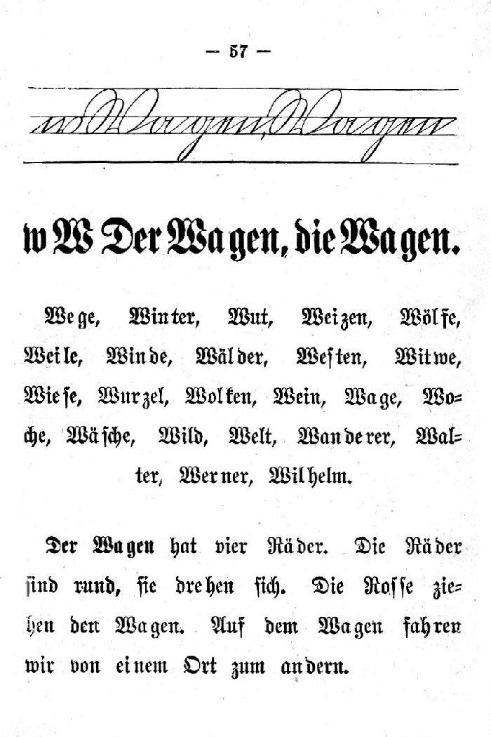 Deutsche Fibel -W (Schreibschrift /Druckschrift)