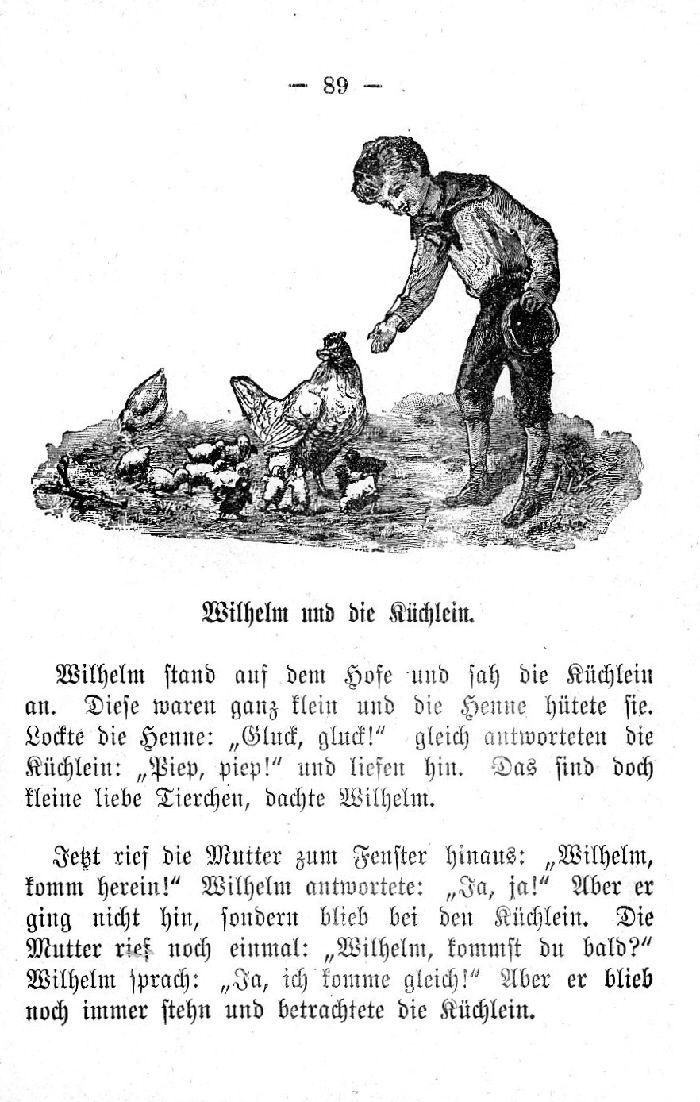 Deutsche Fibel -Wilhelm und die Küchlein