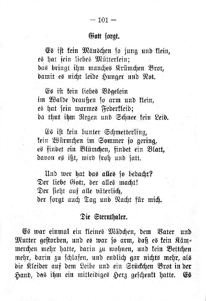 Deutsche Fibel -Gott sorgt - Die Sterntaler