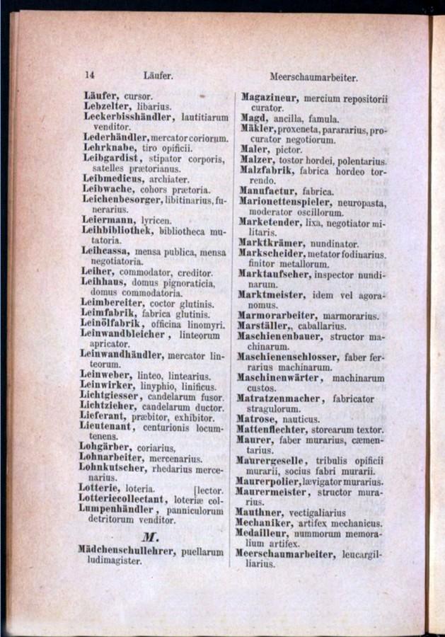 Teil 1 Deutsch - Latein / von 'Läufer' bis 'Meerschaumarbeiter'