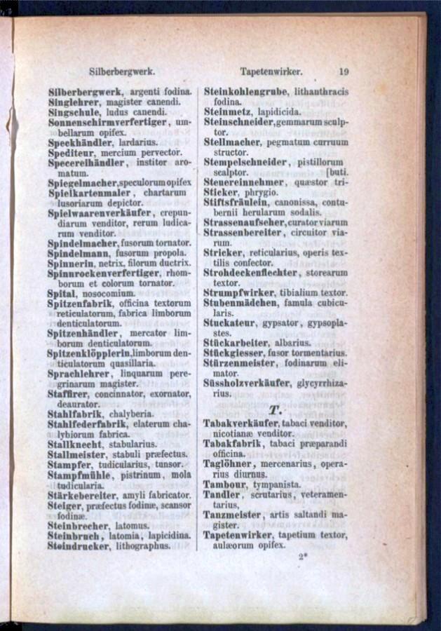 Teil 1 Deutsch - Latein / von 'Silberbergwerk' bis 'Tapetenwirker'