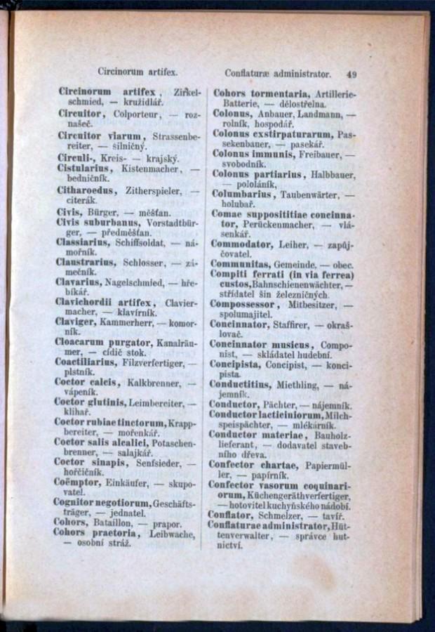 Teil 3 Latein - Deutsch - Böhmisch / von 'Circinorum artifex' bis 'Conflaturae administrator'