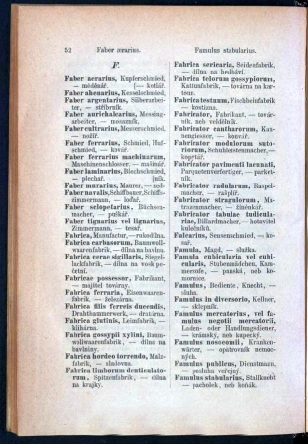 Teil 3 Latein - Deutsch - Böhmisch / von 'Faber aerarius' bis 'Famulus stabularius'
