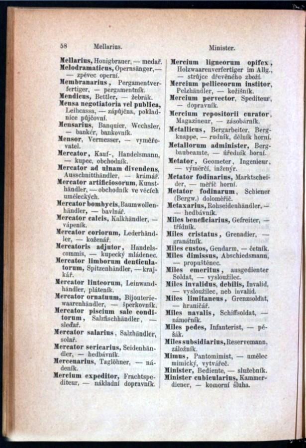 Teil 3 Latein - Deutsch - Böhmisch / von 'Mellarius' bis 'Minister'