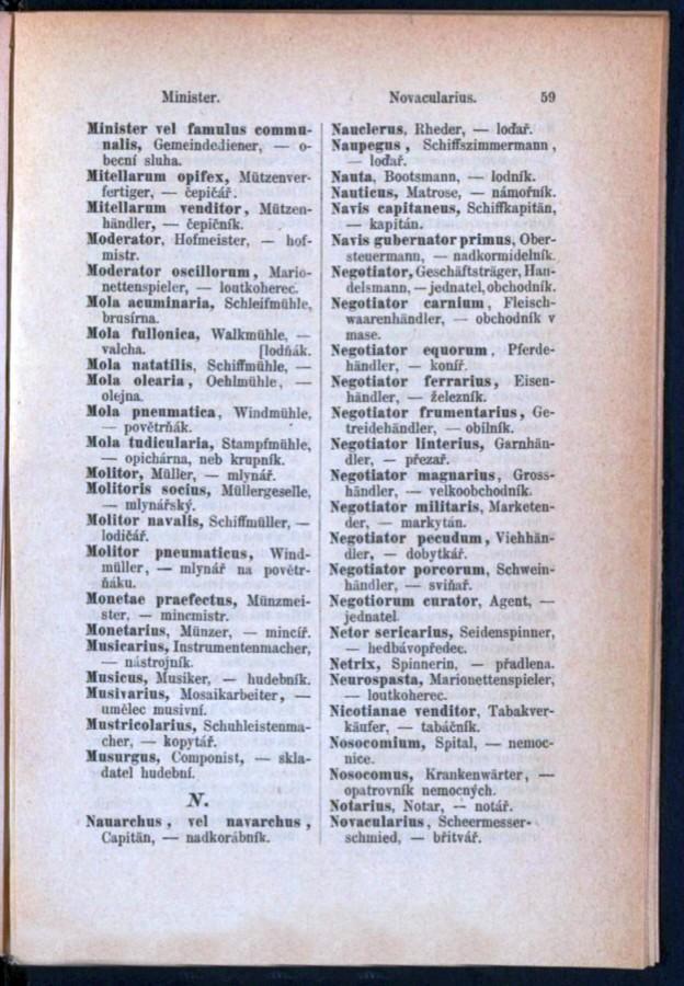Teil 3 Latein - Deutsch - Böhmisch / von 'Minister' bis 'Novacularius'
